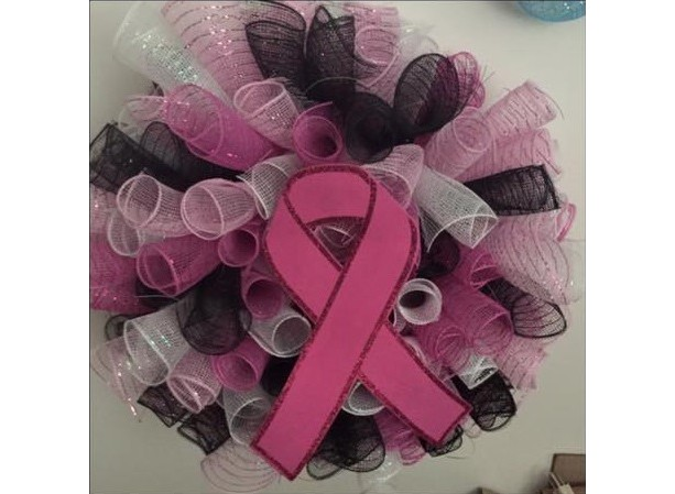 Breast Cancer Awareness Deco Mesh Wreath