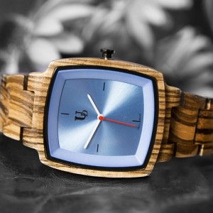 UD Classic Engraved Mens Zebra Square Wood Watch With Sapphire Face/Swiss Movt