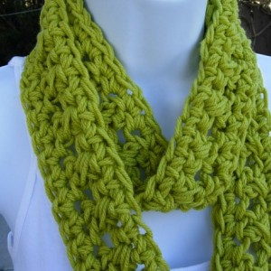 SUMMER SCARF Solid Lime Apple Green Infinity Loop Cowl, Crochet Necklace, Small Skinny Narrow Lightweight Circle..Ready to Ship in 2 Days