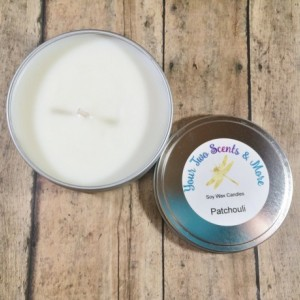 Patchouli Natural Candle, Soy Wax Candle, Vegan Candle, Eco Friendly, Yoga Candle, Meditation Candle, Scented Soy Candle, 8 Oz Candle Tin