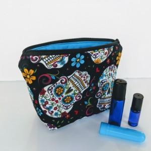 Sugar Skull Essential Oil Bag, Roller ball Bag, Essential Oil Case, Rollerball Case, Essential Oil Travel, Oil Pouch