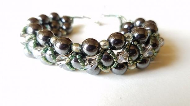 Women's Hematite, Czech & Austrian Crystal, and Japanese Delicata Bracelet, R.A.W.