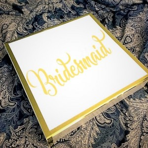 wedding Favor gift box custom name with Foil Gold vinyl