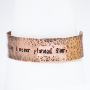 Hammered Copper Cuff with Hand Stamped Message or Quote
