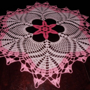 "Lovely Handmade Crochet Tablecloth Doily, PINK Colors, Round, 23.5"", 100% Cotton"