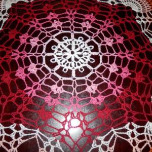 "Stunning Handmade Crochet Tablecloth Doily, 45.5"", ""Rainbow Peacock Tail"", Cotton 100%, USA FREE shipping"