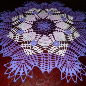 "Stunning Real Handmade Crochet Doily, PURPLE, Round, 29"", ""Daisy Meadow"", Cotton100%, USA FREE shipping"