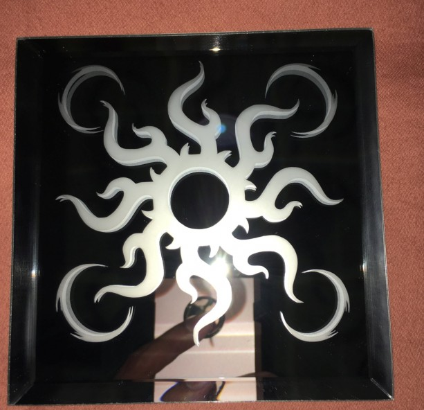Tribal Sun Mirror Glass Etching
