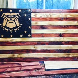 Georgia Bulldogs American Wooden Flag