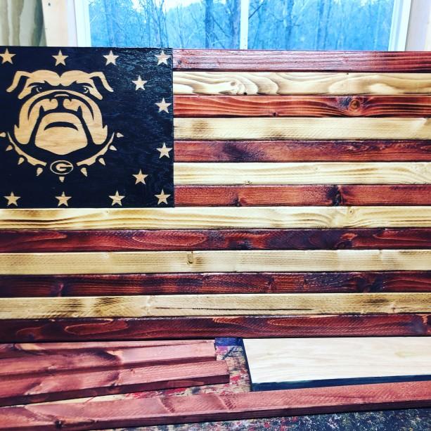 Georgia Bulldogs American Wooden Flag