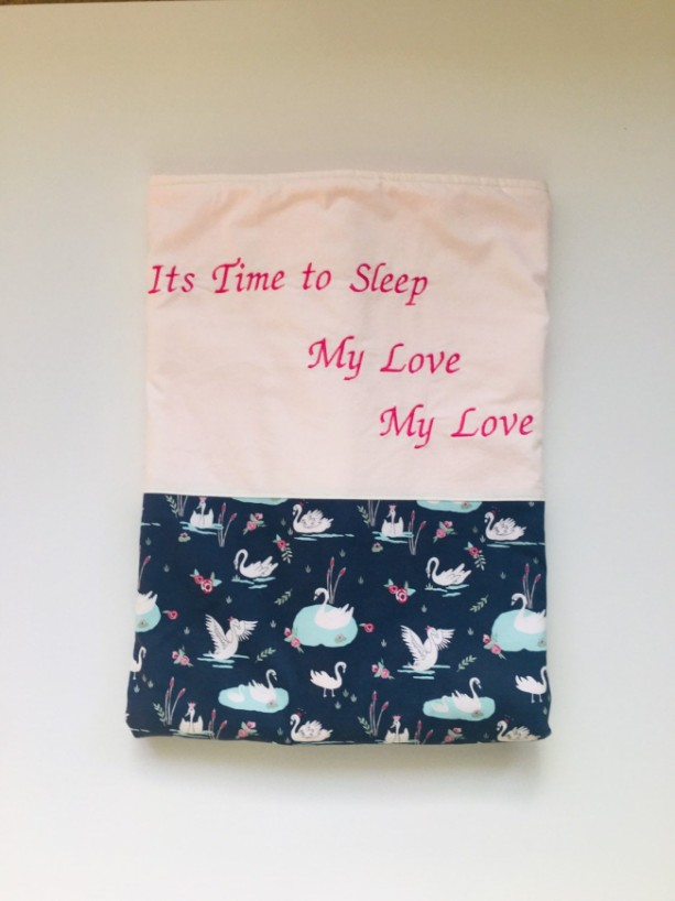 personalized baby girl blanket/Nancy Tillman/Its Time to Sleep/baby shower gift/baby coming home gift/swan