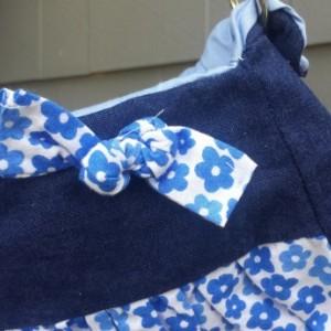 Blue Denim and Floral Gathered Petite Handbag- OoaK