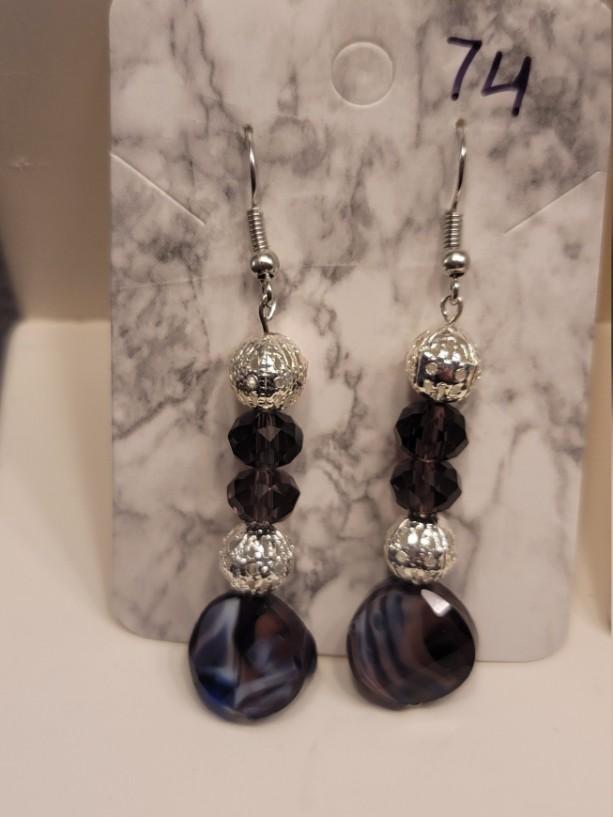 Purple and silver bead earrings