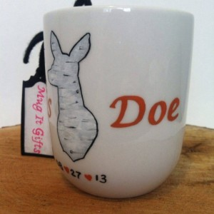 His Doe Her Buck Couples Birch Bark Coffee Tea Mug Cup