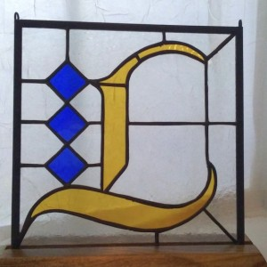 "9"" x 9"" Fraktur Monogram Stained Glass Hanging"