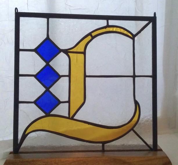 "9"" x 9"" Fraktur Monogram Stained Glass Hanging"