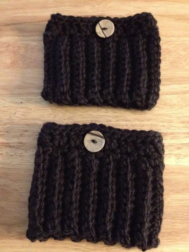 Crochet Boot Cuffs/Brown