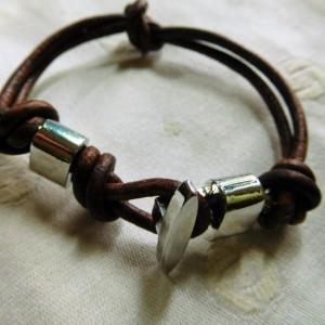 Brown leather 3mm cord bracelet design  #B00212