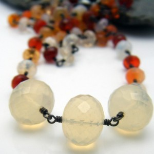 Mexican Fire Opal and Sterling Silver Necklace - Candy Corn