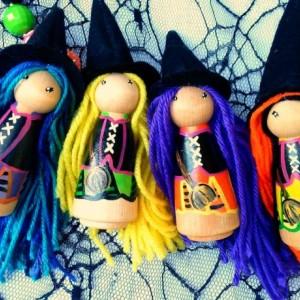Halloween - Halloween witch dolls - Halloween favor - Halloween gift - Halloween Desk decor - Halloween peg dolls - Halloween kids gift -