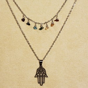 Hamsa Pendant Necklace with 7 Chakra Gemstones