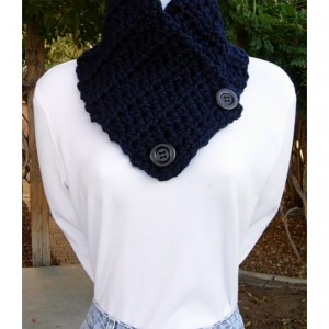 Solid Dark Navy Blue NECK WARMER SCARF Buttoned Cowl with Black Buttons, Men's, Women's Thick Winter Crochet Knit, Ready to Ship in 3 Days