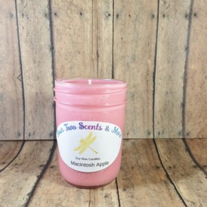 Macintosh Apple Soy Wax Candle, Natural Soy Candle, Vegan Candle, Eco Friendly Candle, Scented Soy Candle, 8 Oz Mason Jar Candle