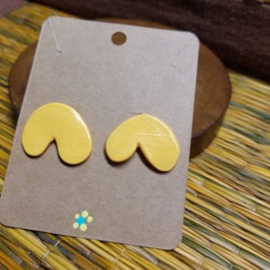 Abstract mustard clay earrings