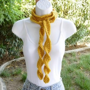 Women's Solid Mustard Yellow Skinny SUMMER SCARF Small Soft Spiral Knit Narrow Lightweight Twisted Crochet Necklace, Ready to Ship in 2 Days
