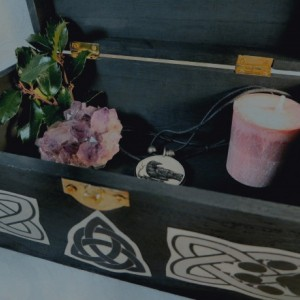 Black Wooden Celtic Wolf Box / Origional Artwork Pen and Ink / Wolf Totem Animal / Tarot Box / Crystals Trinkets Jewelry Gothic Magic