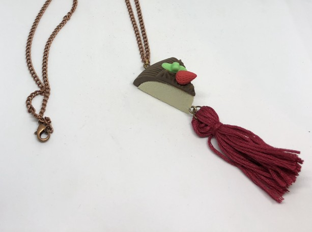 Upcycled Strawberry Cake Eraser Toy with Tassel Necklace - Cake Jewelry - Tassel Necklace