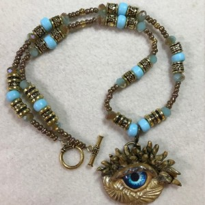 "Old Blue Eye Dragon's Eye handmade beaded necklace 22"" long"