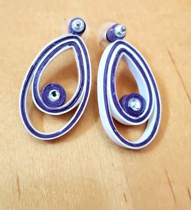 Purple and White Teardrop Earrings