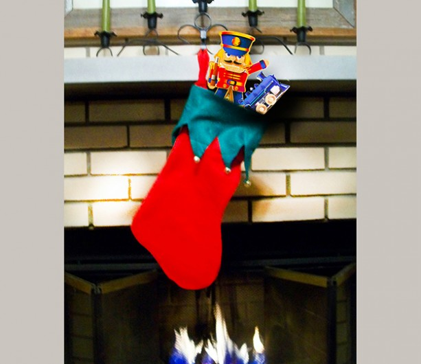 Christmas Stocking with 2 Wooden Toys- Nutcracker Soldier Puppet