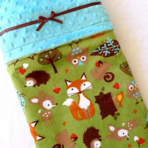 Kids Bedding - Minky Baby Blanket - Baby Blanket - Woodland Baby Blanket - Fox Baby Blanket - Unisex Baby Blanket - Gender Neutral - Forest