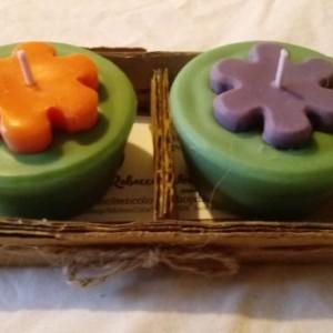 "Two 3.5 oz ""Groovy Gardenia"" orange and purple handmade soy candles"