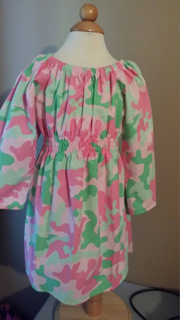 Pink Camoflage Peasent Dress 2T
