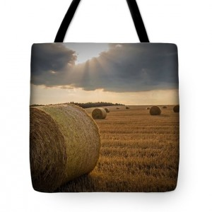 Straw Bales and Sunrays Tote Bag