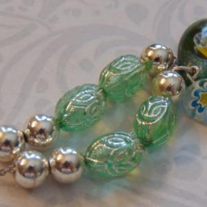 Silver Green Czech Bead Silver Bead Teardrop Silver Foil Green Flower Floral Lampwork Bead Silver Toned Necklace