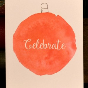 Greeting Card - Holiday - Set of 6 - Ornament - Celebrate - Handmade - Original - Red - Christmas - Winter