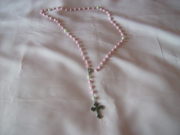 Girls Pink Rosary Beads