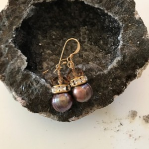 "Chocolate Pearls & ""Topaz"" Earrings"