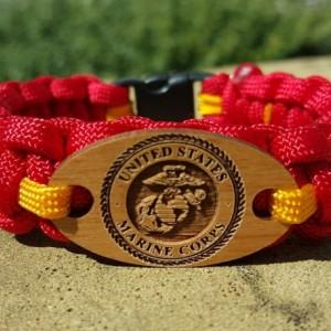 United States Marine Corp, USMC Paracord Laser-Cut Charm Bracelet, Military Bracelet