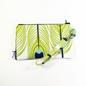 Medium Wristlet Zipper Pouch Clutch - Lime Peacock
