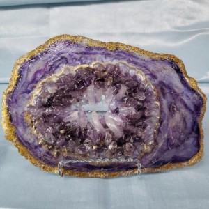 """Amethyst and Gold Eco-Epoxy Resin Geode """"Positively Purple"""""""