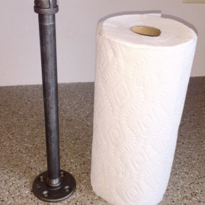 "Industrial Black Pipe Paper Towel Holder ""DIY"" Kit, Free Standing for counter top or workbench Steampunk, Loft Urban Decor"