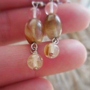 Gemstone Drop Earrings, Watermelon Quartz, Gift for Her, Naturalist.