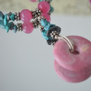 Turquoise and Pink Elegance Necklace Earring Set