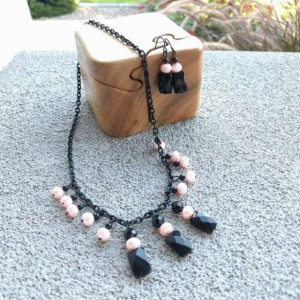 Black Square Chain Link and Pink Beaded Necklace and Earring Set by Cumulus Luci