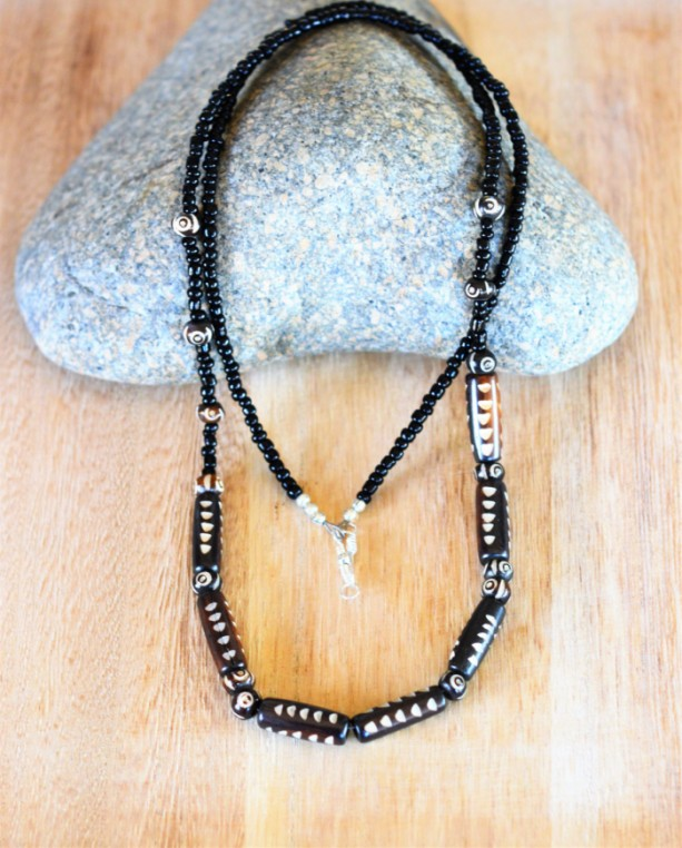 Black  beaded mens necklace, African long mens jewelry, African black bone bead necklace, Gift for him, Men's black   seed beads  necklace